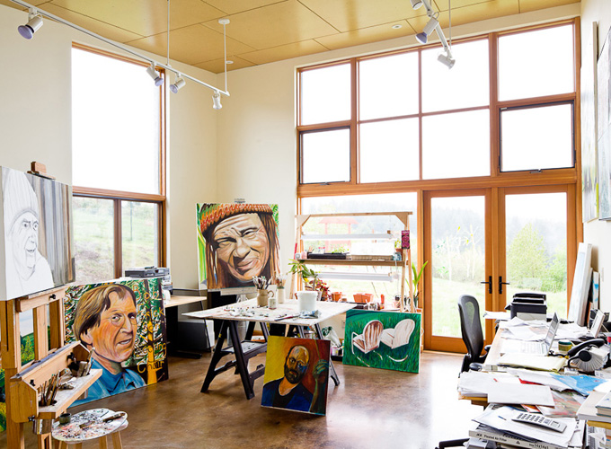 Steve's art studio is flooded with natural light.
