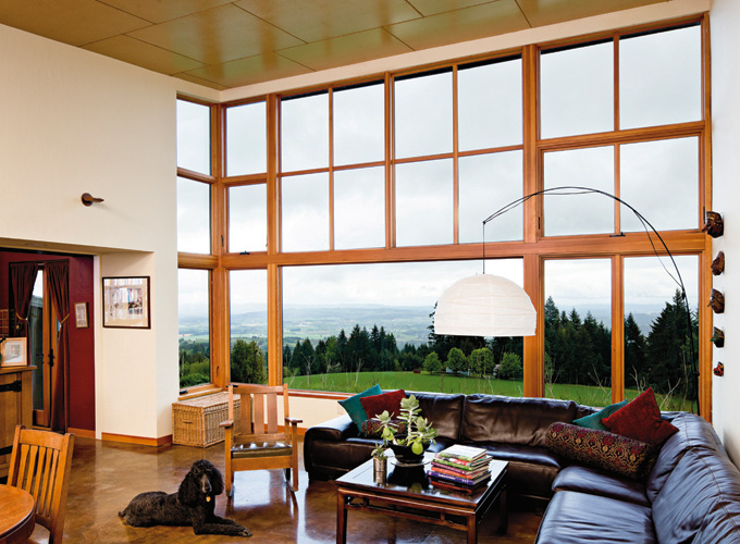 The great room's window was designed to frame views of Mount Hood.