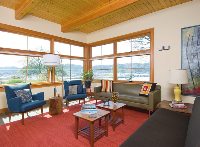The 7-foot-tall windows are important energy-saving elements.