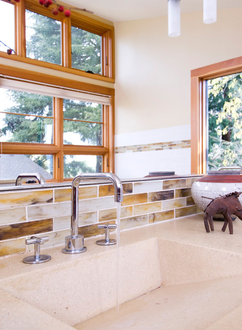 Sinks and back splashes are made from recycled materials.