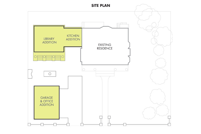 Floor plans show how builder/owner John McCulloch added a kitchen, library and garage without crowding the corner lot.
