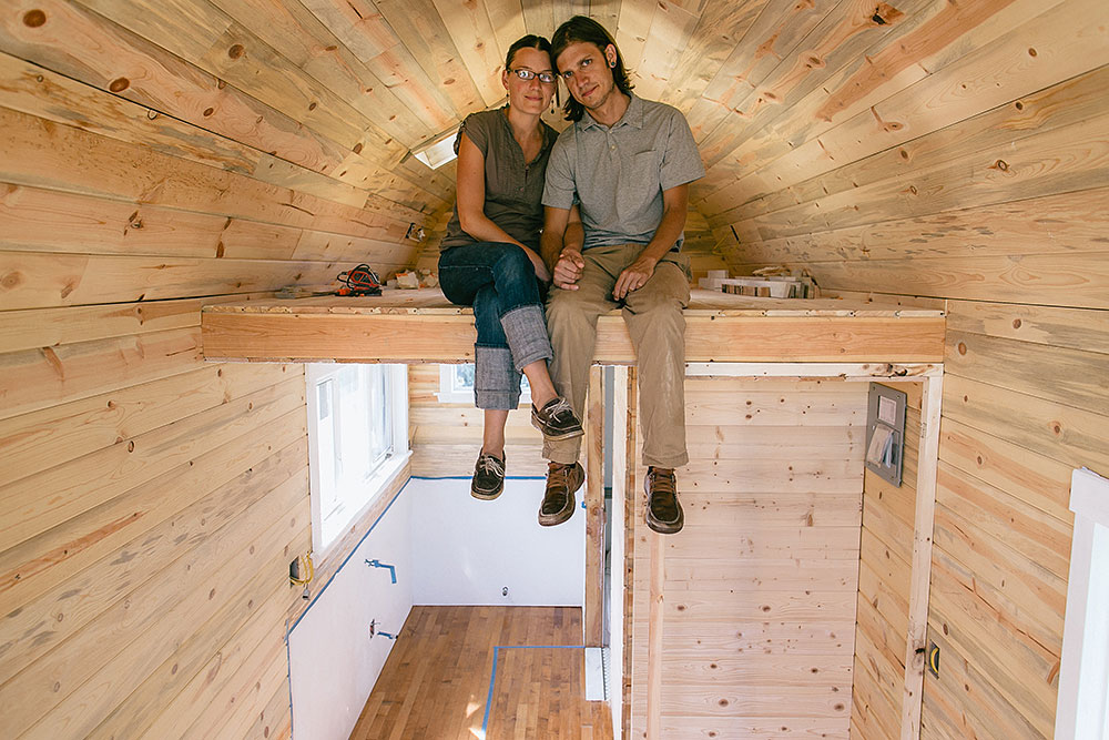 Nikki and Mitchell inside their tiny house