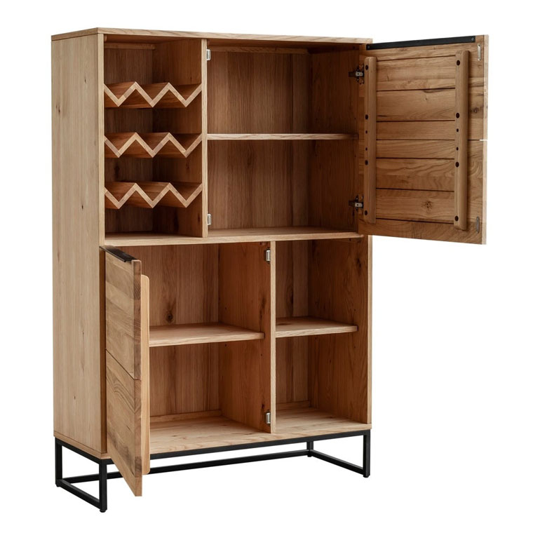 Aurelle Home Brown Natural Industrial Farmhouse Oak Bar Cabinet cfed8a48 2a1b 44b7 b720 86e6a2d635d3 1000