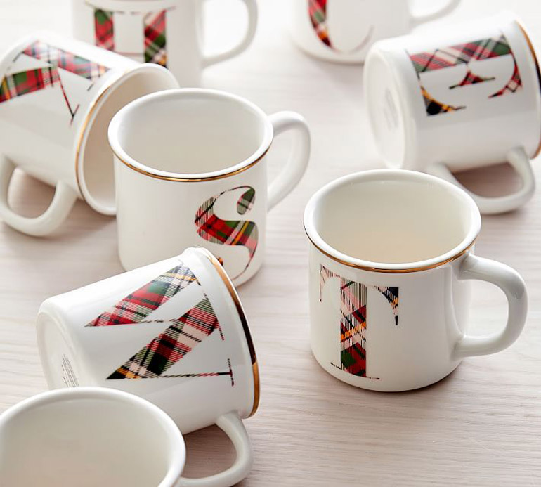 plaid alphabet stoneware mug o